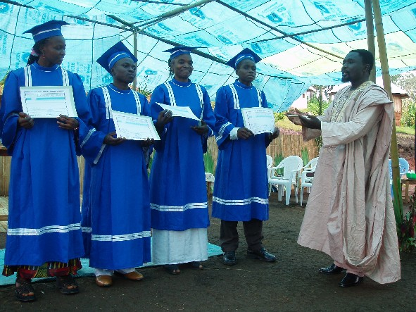 Rev Paul Nchinde addressing some of the 2007 Bible School Graduates